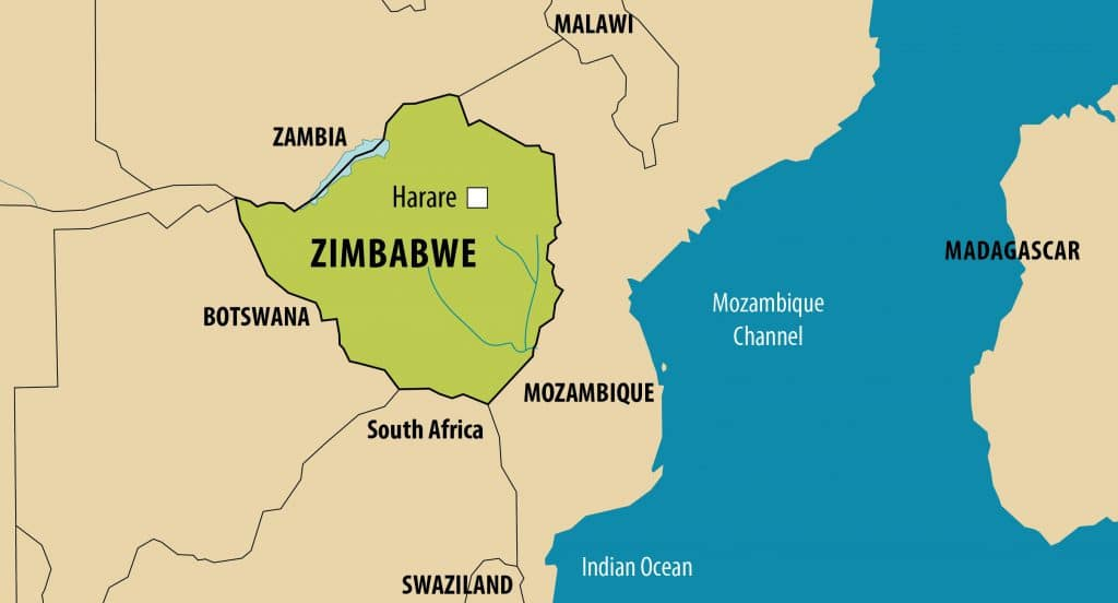 Simplified map of Zimbabwe